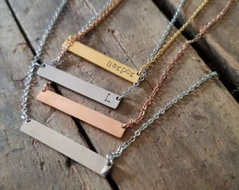 Hand Stamped Personalized Gold Bar Silver, Rose Gold Stainless Steel Bar Necklace