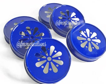 Dark Blue Color Daisy Lids--(6) Daisy Cut  Blue Mason Jar Lids, Metal Jar Lids, Mason Jar Lids, Wedding Daisy Lids