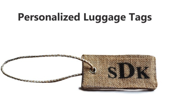 Personalised Luggage Tags Wedding Gift : Personalized Luggage Tag -Burlap Wedding Luggage Tags Monogrammed ...
