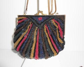 Bead Evening Bag, Vintage Walborg, Black Evening Bag, Beaded Clutch Bag, Multi-Color Beading, Colorful Handbag, Evening Purse EB-0015