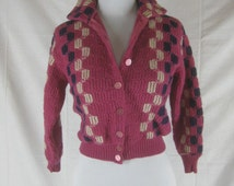 Vtg 50s 60s Purple Cardigan Wool Womens Vintage Button Down Pin Up Sweater