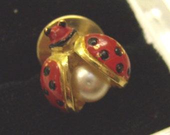 Vintage LADY BUG Tie Tack...Enamel Lady Bug Lapel Pin...Lucky Tie Tack....Bug Jewelry