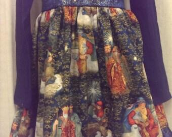 Christmas Peace dress with nativity skirt