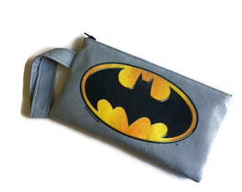 Batman Bag • Upcycled Tee Shirt Bag • Superhero Clutch • Handbag • Batman Gift