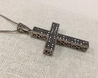 Vintage .925 Sterling Silver Marcasite Cross Pendant!!!!