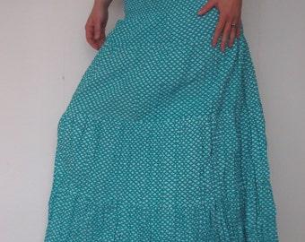 Light Blue romantic bohemian summer maxi long cotton skirt