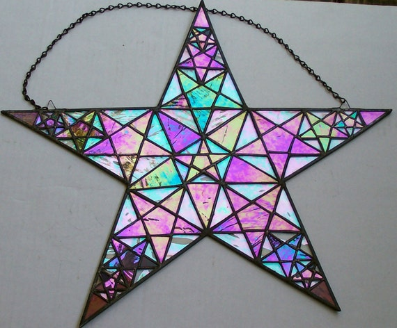 Iridescent Stained Glass Window Panel, Fibonacci Star, Pentagram, Golden Ratio, Wicca, Pagan, Nature's Numbering System, Protective Symbol