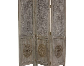 6ft Tall Vintage Rustic Style Closed Mesh Distressed Wooden Room Divider Privacy Folding Screen Partition
