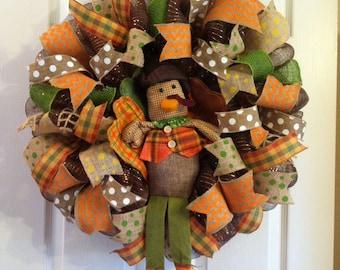 Thanksgiving Wreath/ Turkey Wreath/ Pilgrim Turkey Wreath/ Fall Mesh Wreath/ Thanksgiving Turkey Mesh Wreath/ LAST ONE/ Fall Door Decor