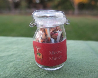 Dollhouse Miniatures - Magic Moose Munch Food in Large Glass Canning Jar - Christmas
