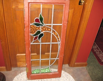 """Local Pick Up ANTIQUE STAINED GLASS Window 37 1/2"""" x 16 1/2"""" Frame Wood 1 3/4"""" Thick Green One Side Rust Reverse Cabinet Door Transom Window"""