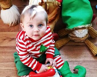 Baby Christmas PJ's, 1st Christmas Pajamas, Boy or Girl Holiday Sleepwear, Christmas Elf Photo Prop, Baby Clothing/MYSWEETCHICKAPEA