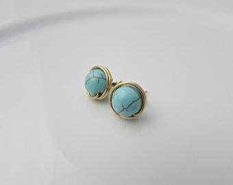 Turquoise Earrings, December Birthstone Earrings, Gift for Girls, Bridesmaid Gifts, Turquoise Stud Earrings, Mom Gift, UK Seller, BFF