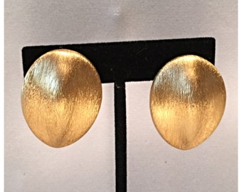 Chunky Anne Klein Textured Matte Gold Clip on Earrings
