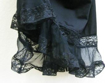 Goth Pinup Black Lace Slip 1950s Pandora Small