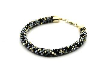 Crochet Bracelet Seed Beads Bracelet Bead Crochet Bracelet Beaded Bracelet crochet rope crochet jewelry Woven Bracelet grey black