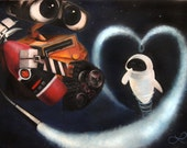 RESERVED for Daisy - Print of Original Oil Painting - Wall-E and Eve in Space