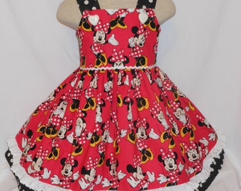 Minnie Mouse Poses Dress, Disney Minnie Dress, Easter, Parade, Pageant, Custom Boutique Style, Birthday Minnie Poses Dress, Unique, Handmade