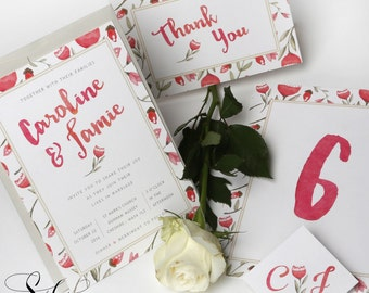 Blossom Wedding Stationery - Set Package of 50 Invitations, 50 Thank You Cards, Table Numbers and Co-ordinating Envelopes.