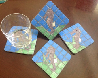 Seahorse coasters set of 4, cork-backed handmade coasters