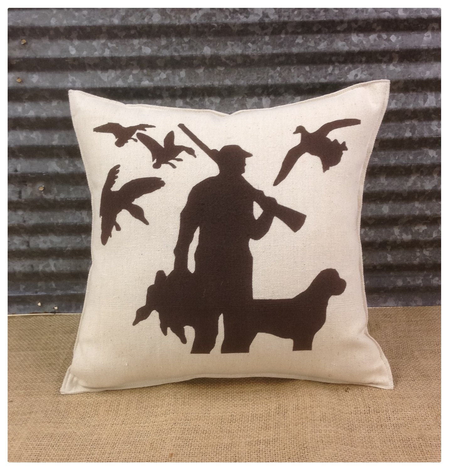 Decorative Pillows Dog : Decorative Pillow with a hunter with his dog and ducks.