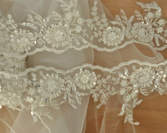 Ivory Beaded Lace Trim on Silver Alencon Lace for Bridal Veil, Wedding Lace