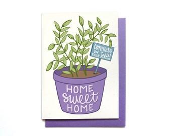 Housewarming Card - Home Sweet Home - New House Card - Housewarming Gift - Housewarming Plant - New Home Card