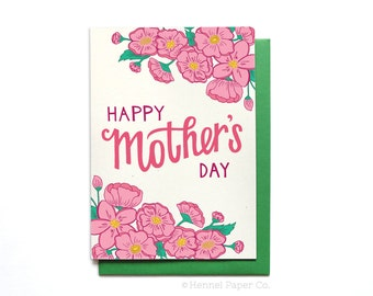 Happy Mothers Day Card Floral - Spring Flowers - Mothers Day Card Unique