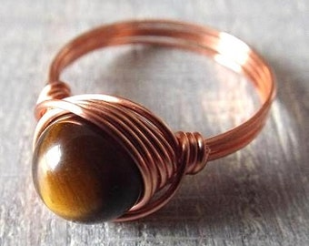 Tiger Eye Ring. Copper Gemstone Ring. Wire Wrapped Ring. Brown Stone Ring. Birthday Gift. Gift for Her. Girlfriend Gift. Tiger Eye Jewelry