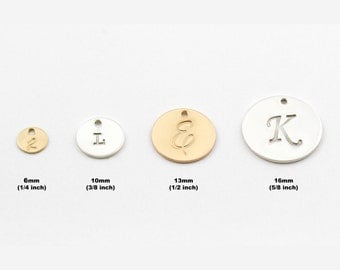 ADD A DISC Charm, Sterling Silver or 14k Gold Filled, Personalized Initial, Create or Add to a Charm Necklace or Bracelet, Choice of Size