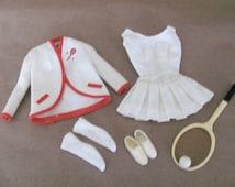 Vintage Barbie Clothes, 1960's Barbie Tennis Anyone Outfit, #941 Tennis Anyone Outfit and Accessories, Vintage Barbie Tennis Outfit