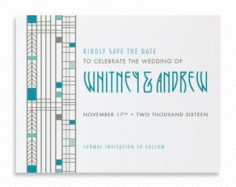 Geometric Squares Printable Save the Date with Print-at-Home Wedding Invitation Suite and Print-ready Info Card Inspired Frank Lloyd Wright
