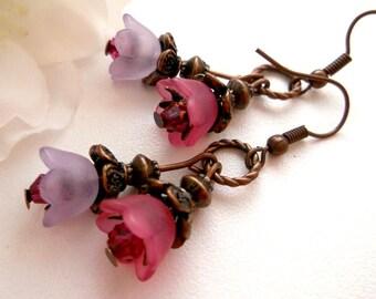 Pink purple flower dangle, Lucite flower earrings, flower earrings, pink earrings, purple earrings, spring flower earrings, copper earrings.