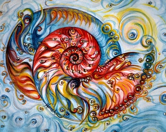 Ornate Nautilus Shell, Original Painting, See Shell, Ocean, Beach, Crystals, Colorful, Modern, Nature, Spiritual,Tranquil Art by Harsh Malik
