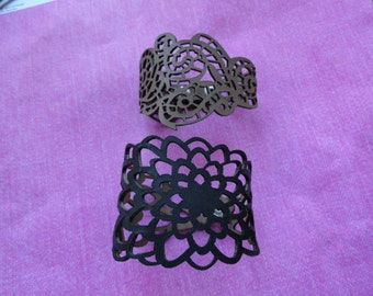 Leather flower cut out bracelets