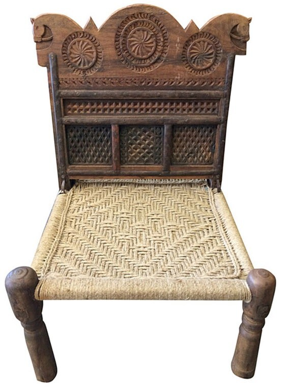 Antique Rope Chairs Rajasthani Vintage Chairs Wood Carving