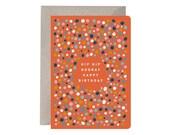 Happy Birthday Card – Hip Hip Hooray Happy Birthday. Colourful Card. Birthday Card. Spotty Card. Orange Card. Fun Birthday Card. Simple Card