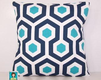 Navy and Turquoise Outdoor Pillow - Dark Blue PILLOW - Lumbar - Various Sizes - Oxford Blue Pillow Cover - Accent Pillow - 20x20,18x18,22x22