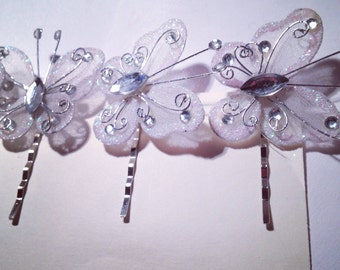 Butterfly Hair Pin ( white) / (6 in a set)