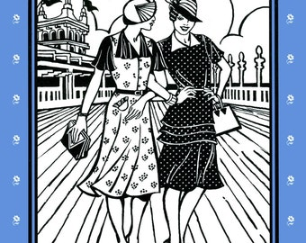 Folkwear 1930s Day Dress in 2 Views XS-3XL Sewing Pattern # 249 Retro Style