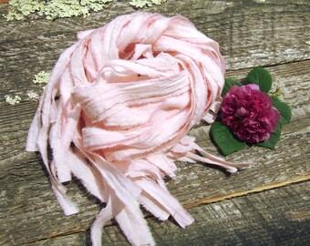 "Blush Pink Ribbon, pre-cut muslin fabric ribbon for printable invitations, 25-1 yard pieces rustic chic ribbon, 1/2"" wide shabby chic ribbon"