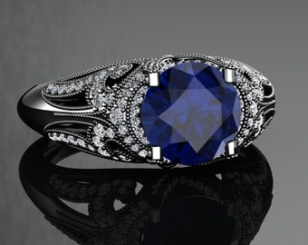 Blue Sapphire Engagement Ring Blue Sapphire Ring 14k or 18k Black Gold VS1BUBK