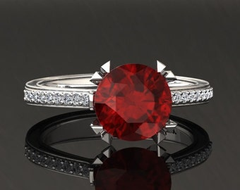 Ruby Engagement Ring Ruby Ring 14k or 18k White Gold Matching Wedding Band Available W18RUBYW