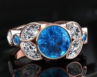 Blue Topaz Halo Engagement Ring Blue Topaz Ring 14k or 18k Rose Gold W16BU2R