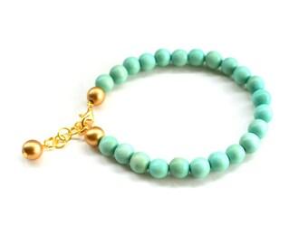 mint bracelet / mint and gold bead bracelet / mint green bridesmaid bracelet / ANY COLOR / turquoise bracelet / seafoam green