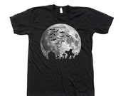 SUMMER SALE Moon Halloween t-shirt Custom Hand Screen Printed on American Apparel Crew Neck Available: S , M , L , Xl , Xxl