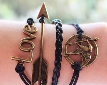 Friendship Bracelet Arrow Bracelet Arrow Jewelry Leather Bracelet Charm Bracelet Gift for her