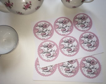 Tea party thank you labels, thank you stickers, tea party labels