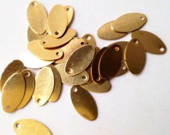 Golden Oval Blanks Charms Metal Stamping Blanks with one Hole 13 mm x 7 mm 18  pieces