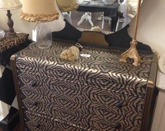 Zebra print dresser with mirror